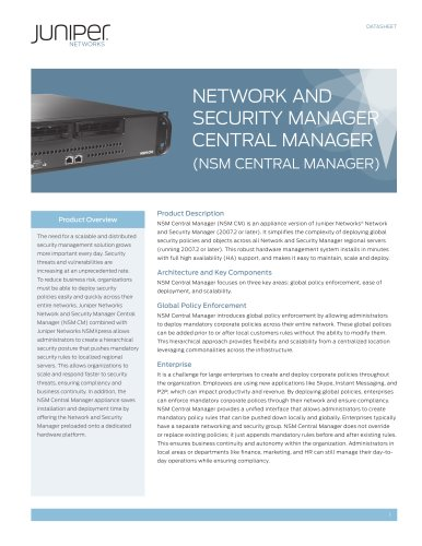 Network and Security Manager Central Manager (NSM CM) - Juniper