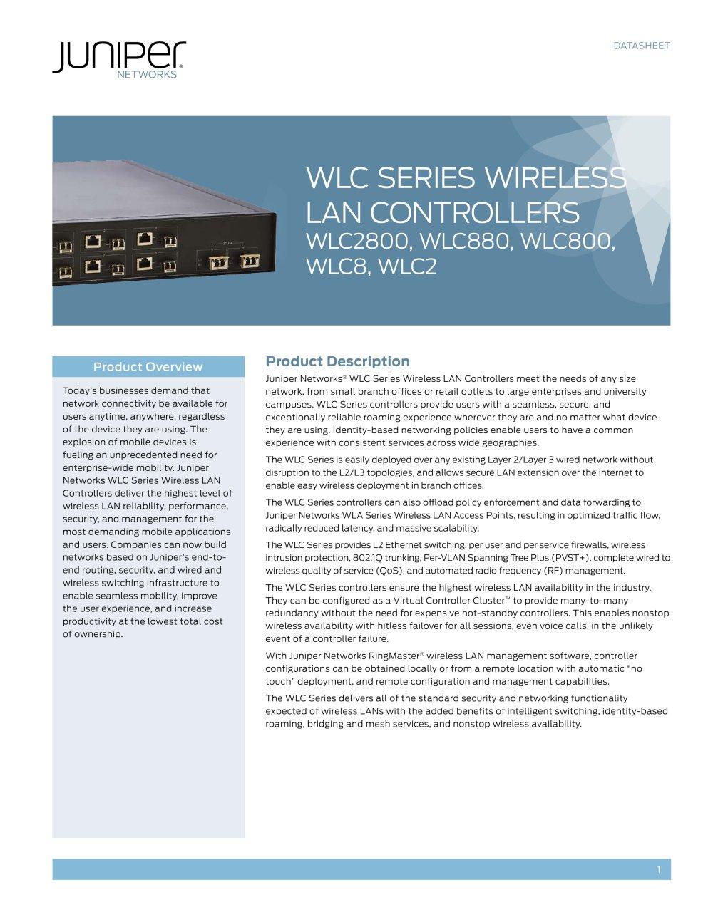 WLC Series Wireless LAN Controllers - Juniper Networks - PDF ...