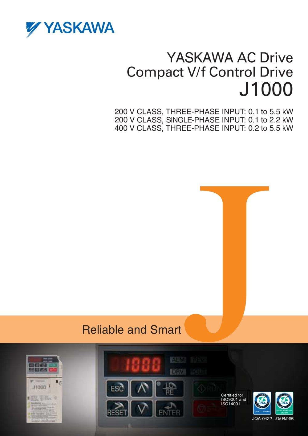 Yaskawa Ac Drive Compact V F Control J1000 Pdf A1000 Wiring Diagram 1 53 Pages
