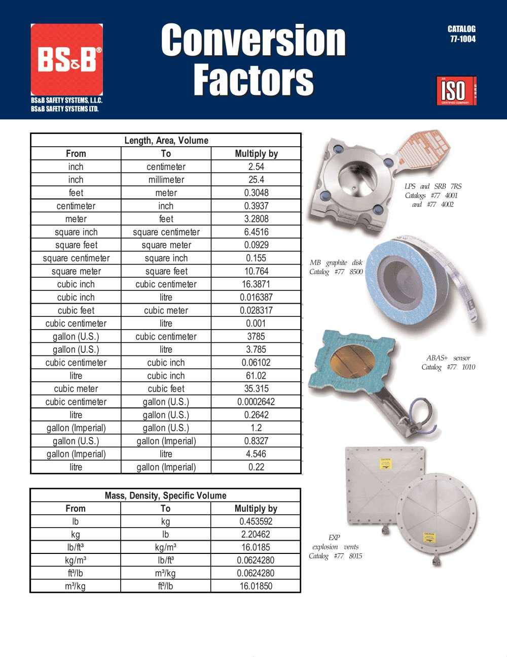Conversion Factors Bsb Safety Systems Llc Pdf Catalogue