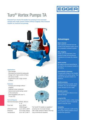 Turo® Vortex Pumps TA  for pumping of raw municipal sewage with a high content of fibers without clogging