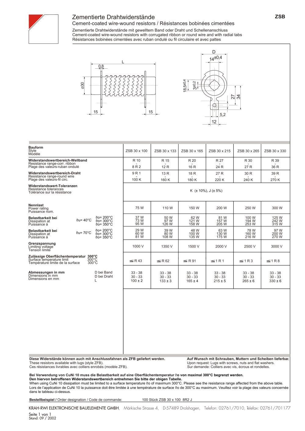 Cement-coated wire wound resistors ZSB - Krah Group - PDF Catalogue ...