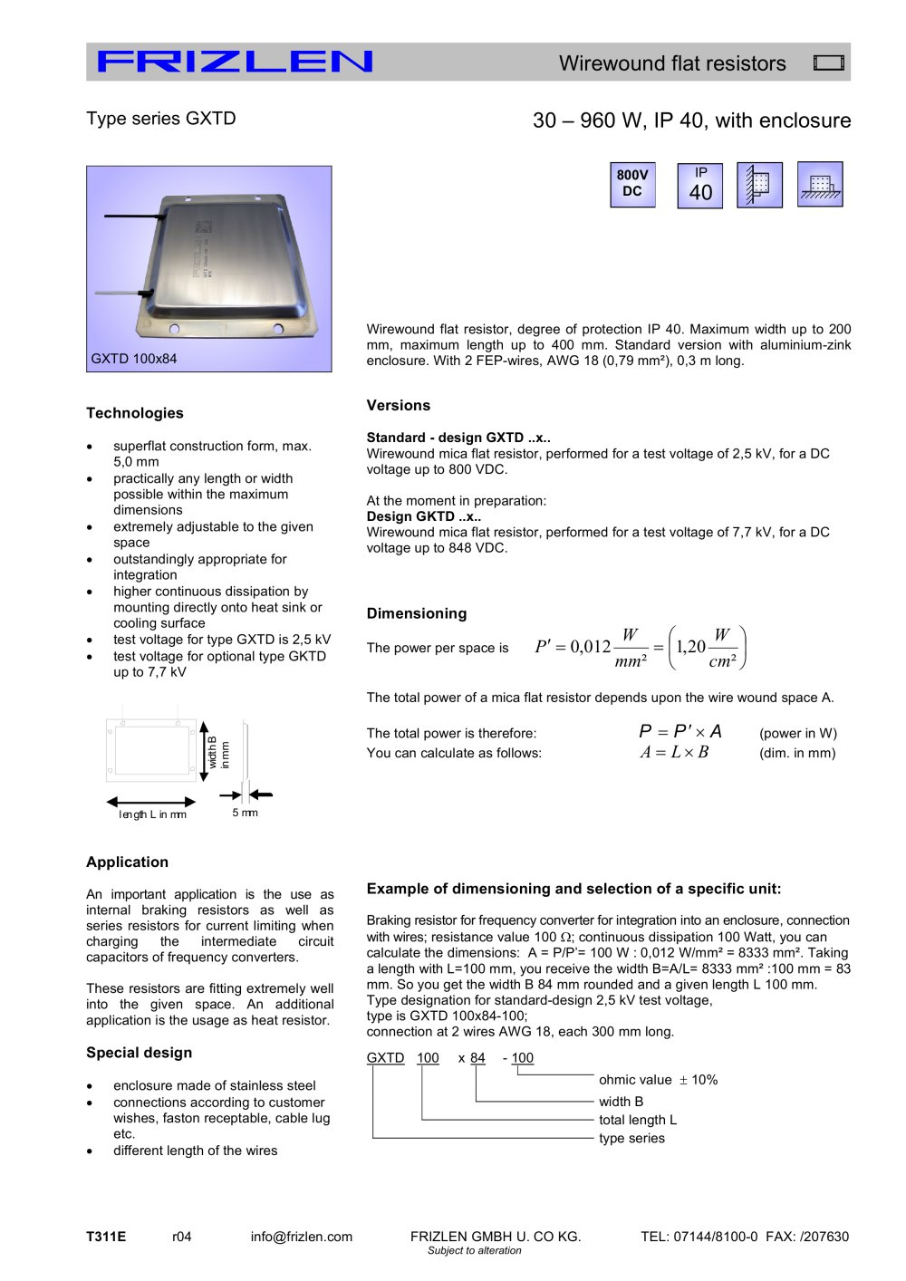 Gxtd Series Frizlen Gmbh Co Kg Pdf Catalogs Technical Resistors How To Measure Current Practically In A Circuit 1 Pages