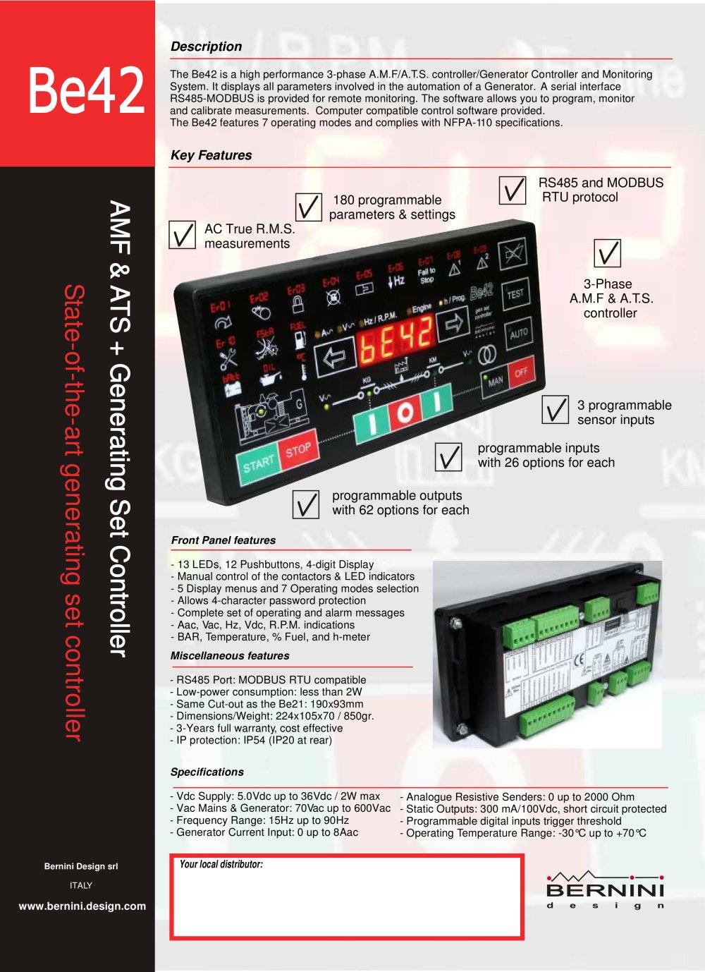 Be42 Brochure En Bernini Design Srl Pdf Catalogue Technical Amf Panel Wiring Diagram 1 2 Pages