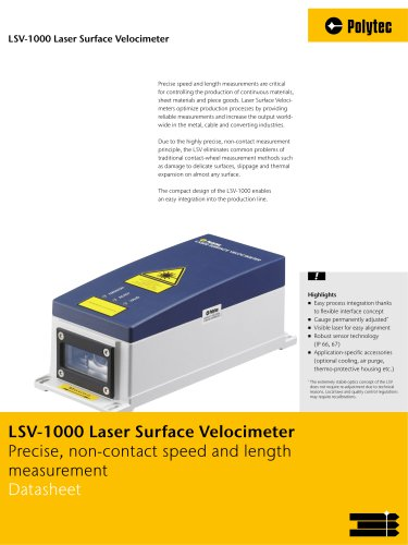Datasheet LSV-1000/-2000 | Length and speed measurement - Polytec