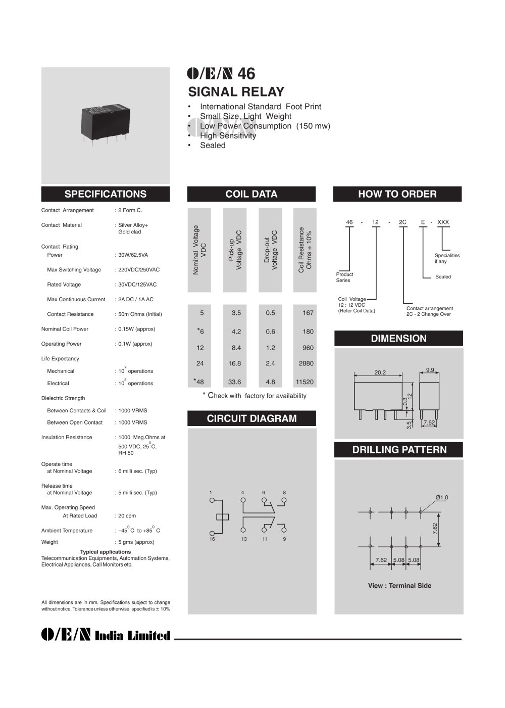 Series 46 O E N India Ltd Pdf Catalogue Technical Relay 5 Pin Connections 1 Pages