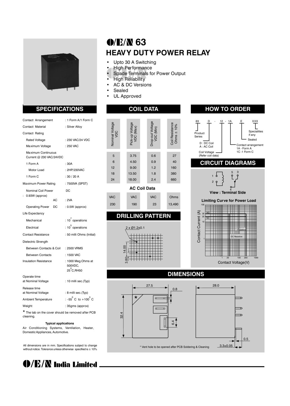 series 63 relays 226397_1b series 63 relays o e n india ltd pdf catalogue technical