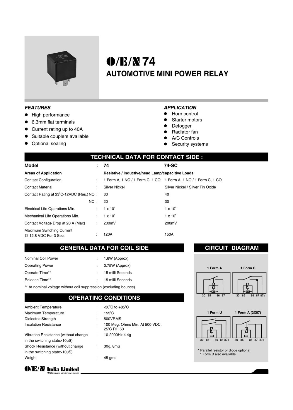 Form C Relay Dpdt Schematic Symbol Telecom Relays Series 74 Automotive O E N India Ltd Pdf Catalogue