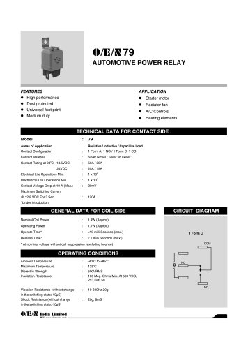 Series 79 automotive relay