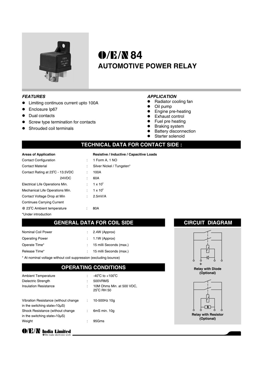 Series 84 Automotive Relay O E N India Ltd Pdf Catalogue Electrical Life 1 2 Pages