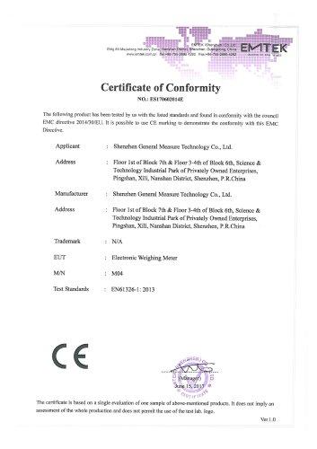 GM M04 Certificate of Conformity - Shenzhen General Measure ...