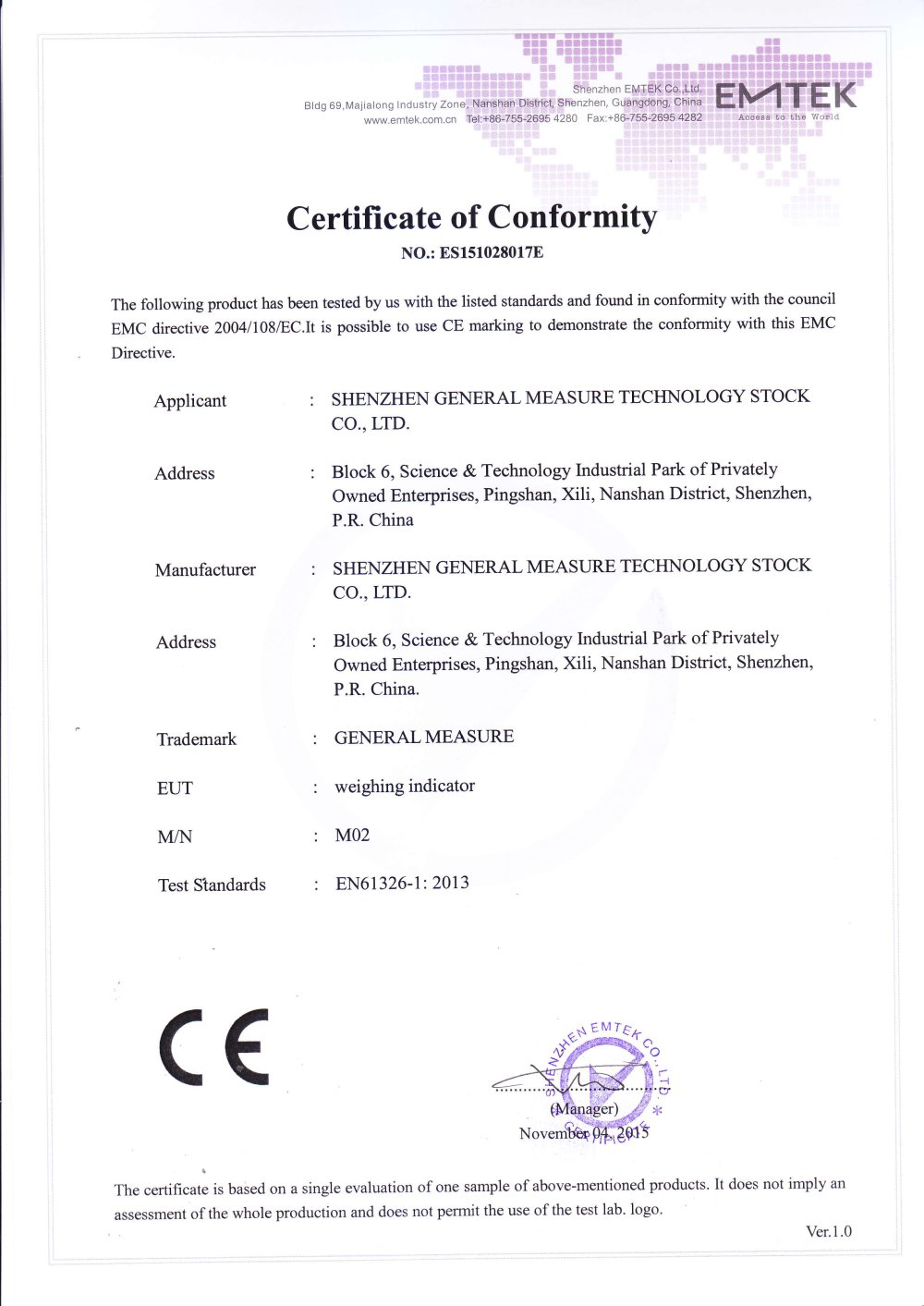 Gm weighing indicator m02 ce certificate shenzhen general gm weighing indicator m02 ce certificate 1 1 pages yelopaper Image collections