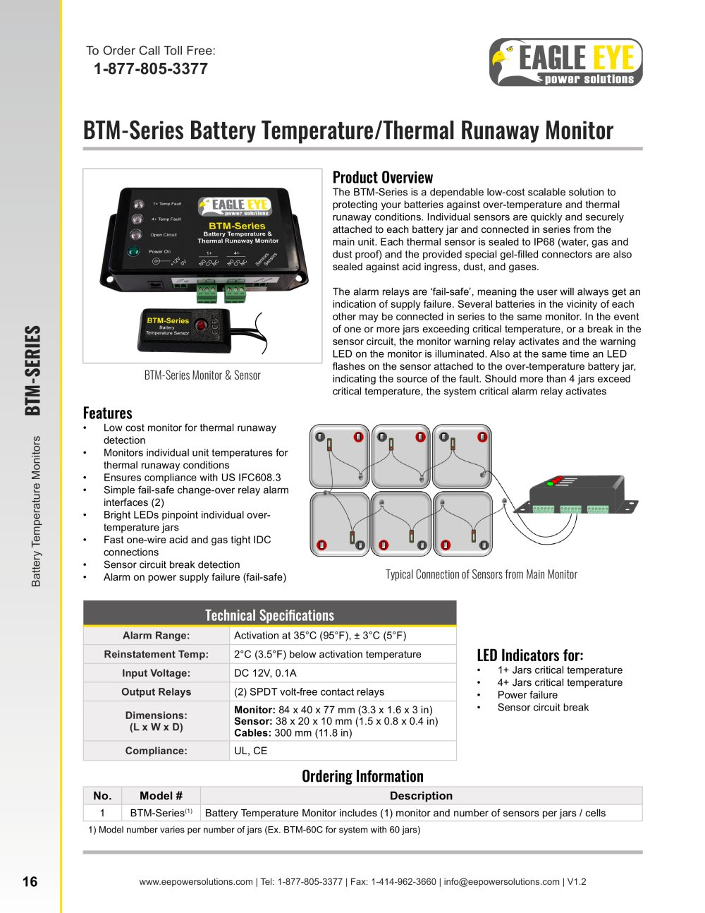 BTMSeries Battery Temperature Thermal Runaway Monitor Eagle - Spdt relay eagle