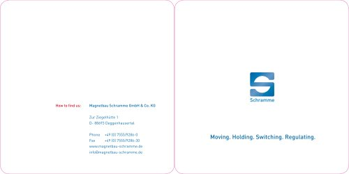 Magnetbau Schramme Image Brochure - Moving. Holding. Switching. Regulating.