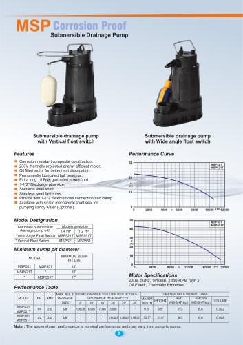 Corrosion Proof Submersible Drainage Pumps 50Hz.
