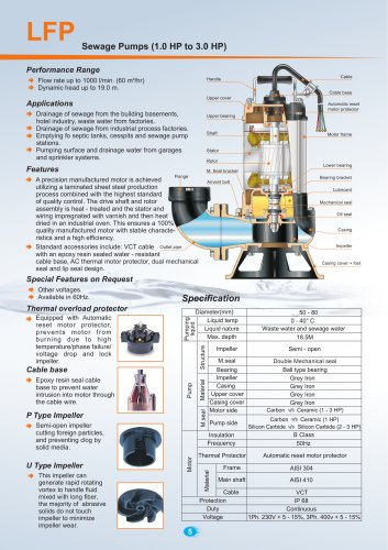 Sewage Pumps (1.0 HP to 3.0 HP) 50Hz.