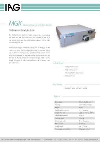 MGK-Compressor Sample Gas Cooler