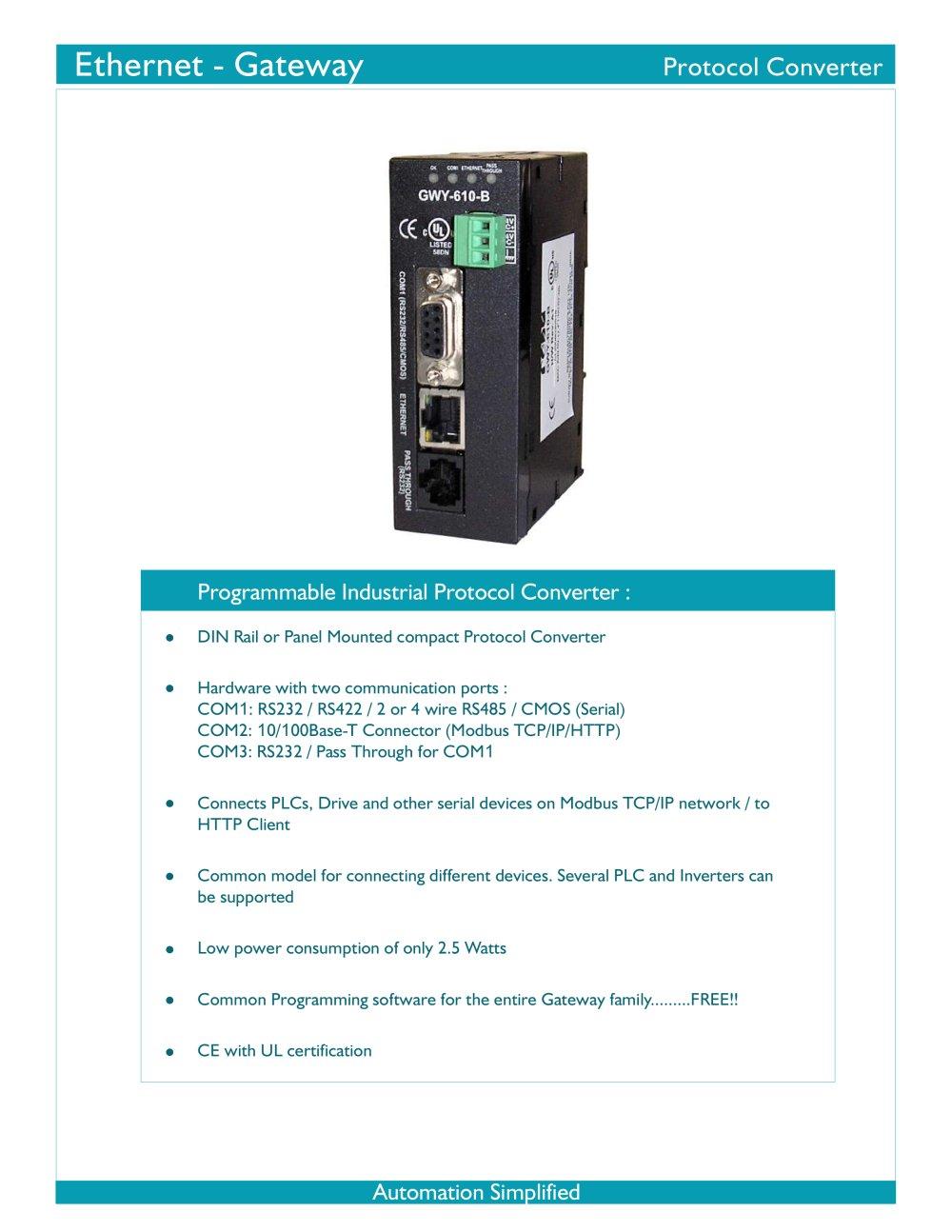 Ethernet Gateway Gwy 610 B Renu Electronics Pvt Ltd Pdf Modbus Rs232 Rs485 Wiring 1 4 Pages
