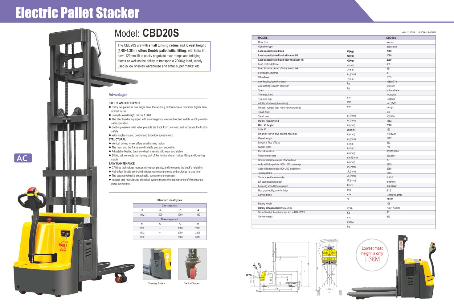 Xilin Electric Stacker Double Pallet 2t Cbd20s For Warehouse Electrical Wiring Joints Pdf 1 Pages