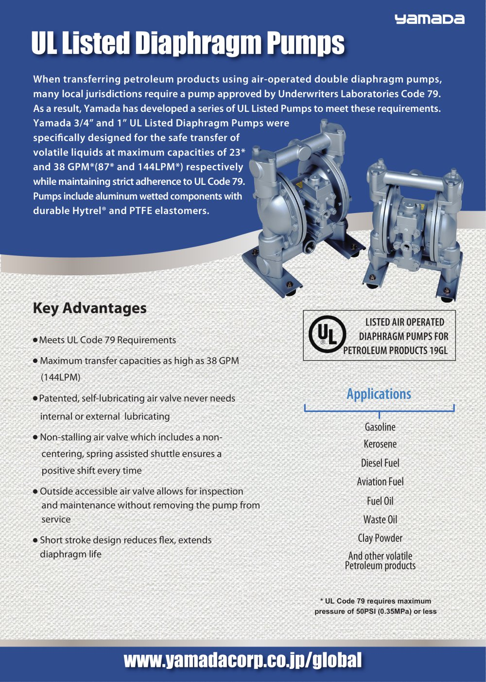 Ul listed diaphragm pumps yamada corporation pdf catalogue ul listed diaphragm pumps 1 2 pages ccuart