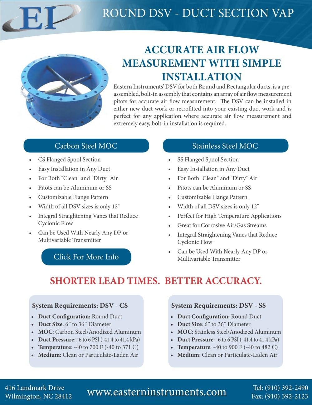 Dsv Air Flow Element Round Duct Cut Sheet 1 Pages