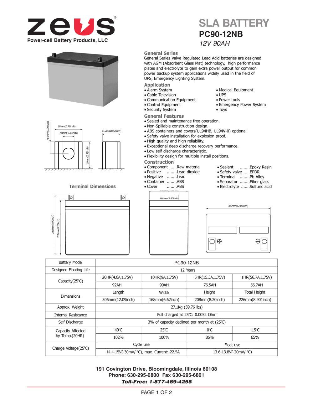 Pc90 12nb 12 Volt 90 Ah Sealed Lead Acid Battery Zeus Diagram 1 2 Pages