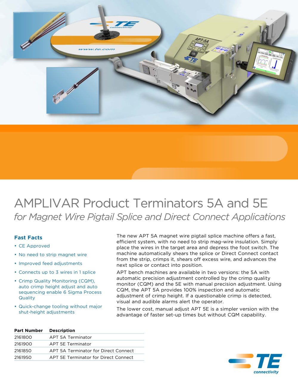 AMPLIVAR Product Terminators 5A and 5E - TE Connectivity - Magnet ...