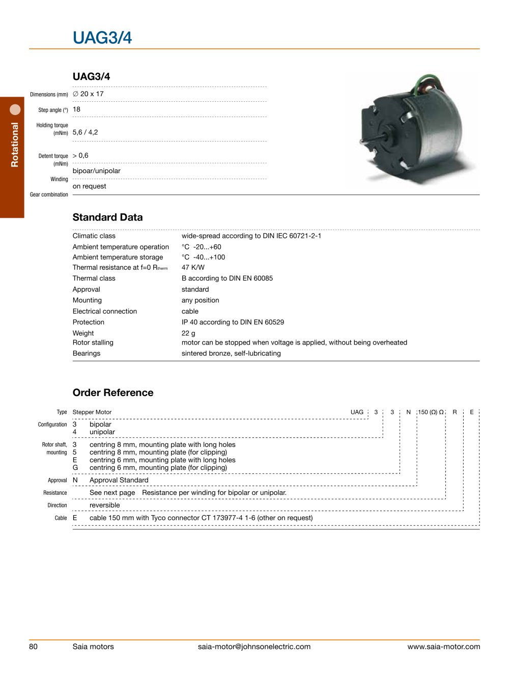 Standard Rotary Stepper Motors Johnson Electric Pdf Catalogue American Phase Wiring Diagram 1 38 Pages