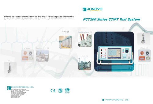 Current transformer tester PCT200 Series - PONOVO POWER CO