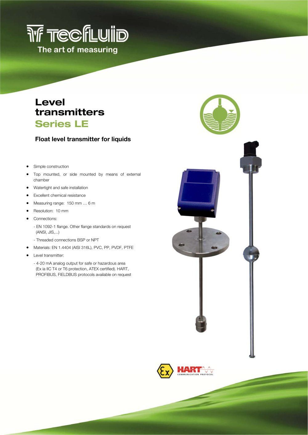 Series Le Float Level Transmitter Tecfluid Pdf Catalogue 20ma To Hart Converter 4 On Wiring Diagram For 1 6 Pages