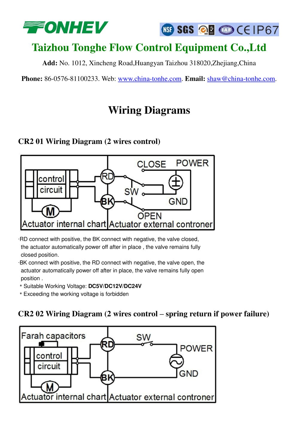 Tonhe Motorized Valve Wiring Diagrams - 1 / 4 Pages