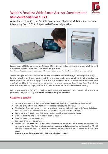 Mini ‐ WRAS Model 1 371 - Grimm Aerosol Technik - PDF Catalogs