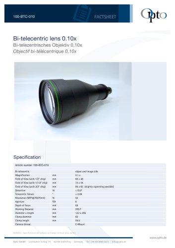 Bi-telecentric Lens 0,10x