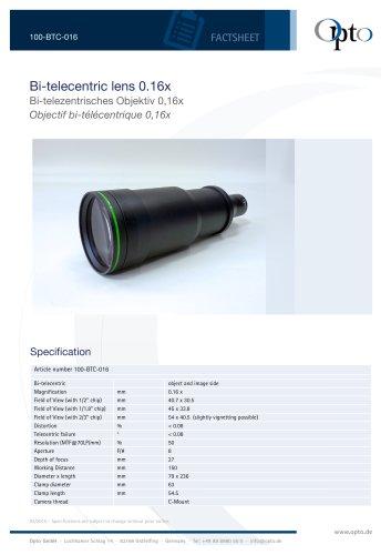 Bi-telecentric Lens 0,16x