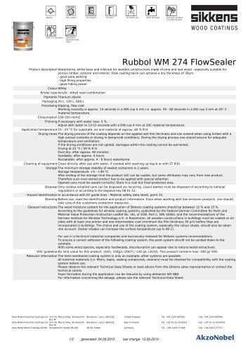 Rubbol WM 274 FlowSealer - SIKKENS - PDF Catalogs