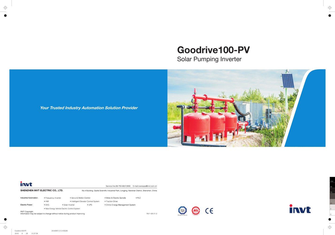 Invt Gd100 Pv Series Solar Pump Inverter Product Manual Shenzhen Ups Circuit Diagram Urdu 1 10 Pages