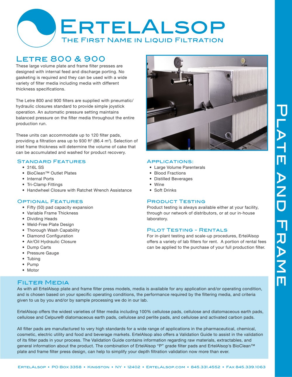 Letre 800 and 900 Plate and Frame Filter - ErtelAlsop - PDF ...