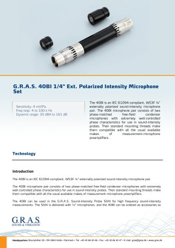 "G.R.A.S. 40BI 1/4"" Ext. Polarized Intensity Microphone Set"