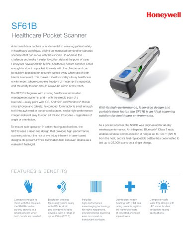 SF61B Healthcare Pocket Scanner - INTERMEC - PDF Catalogs
