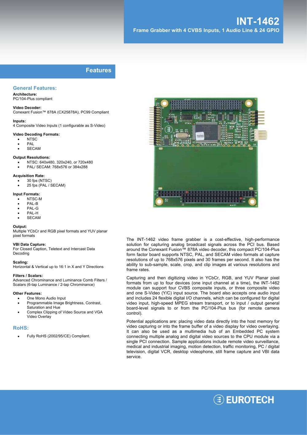 INT-1462 - Eurotech - PDF Catalogue | Technical Documentation | Brochure