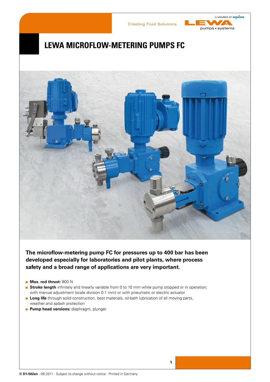 Lewa microflow metering pumps fc lewa gmbh pdf catalogue lewa microflow metering pumps fc 1 4 pages ccuart Gallery