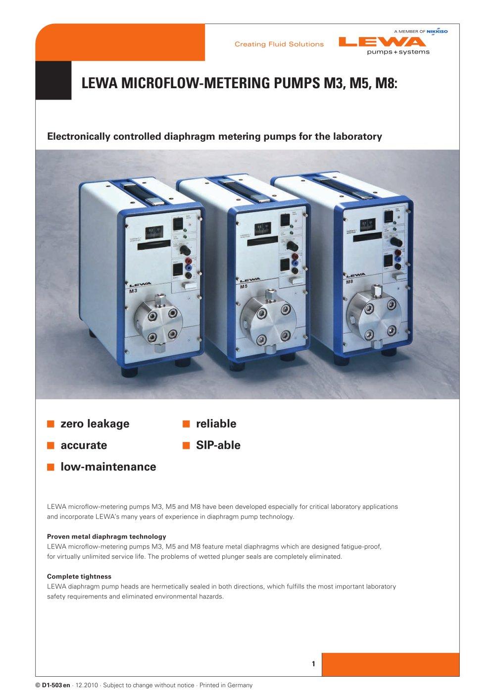Lewa microflow metering pumps m3 m5 m8 lewa gmbh pdf lewa microflow metering pumps m3 m5 m8 1 4 pages ccuart Gallery