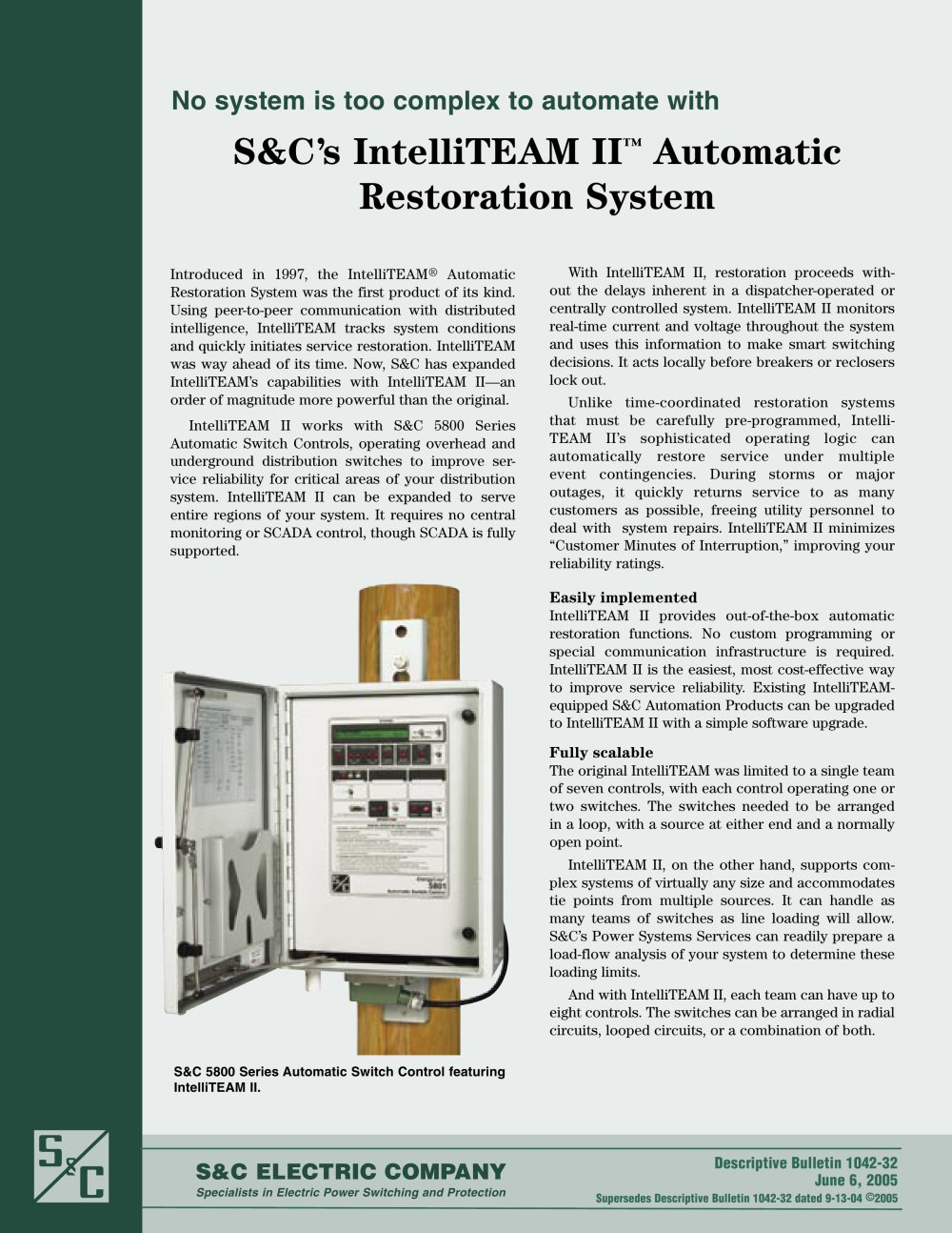 S&C?s IntelliTEAM II ? Automatic Restoration System - S&C Electric ...