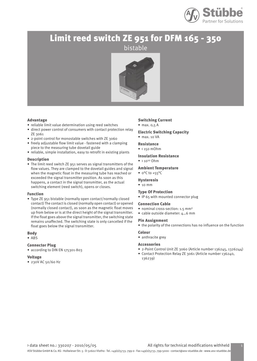 Limit Reed Switch Ze951 Asv Stuebbe Gmbh Co Kg Pdf Catalogue 4 Pin Relay Wiring Diagram 1 Pages