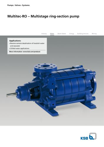 High-pressure pump in ring-section design for SWRO