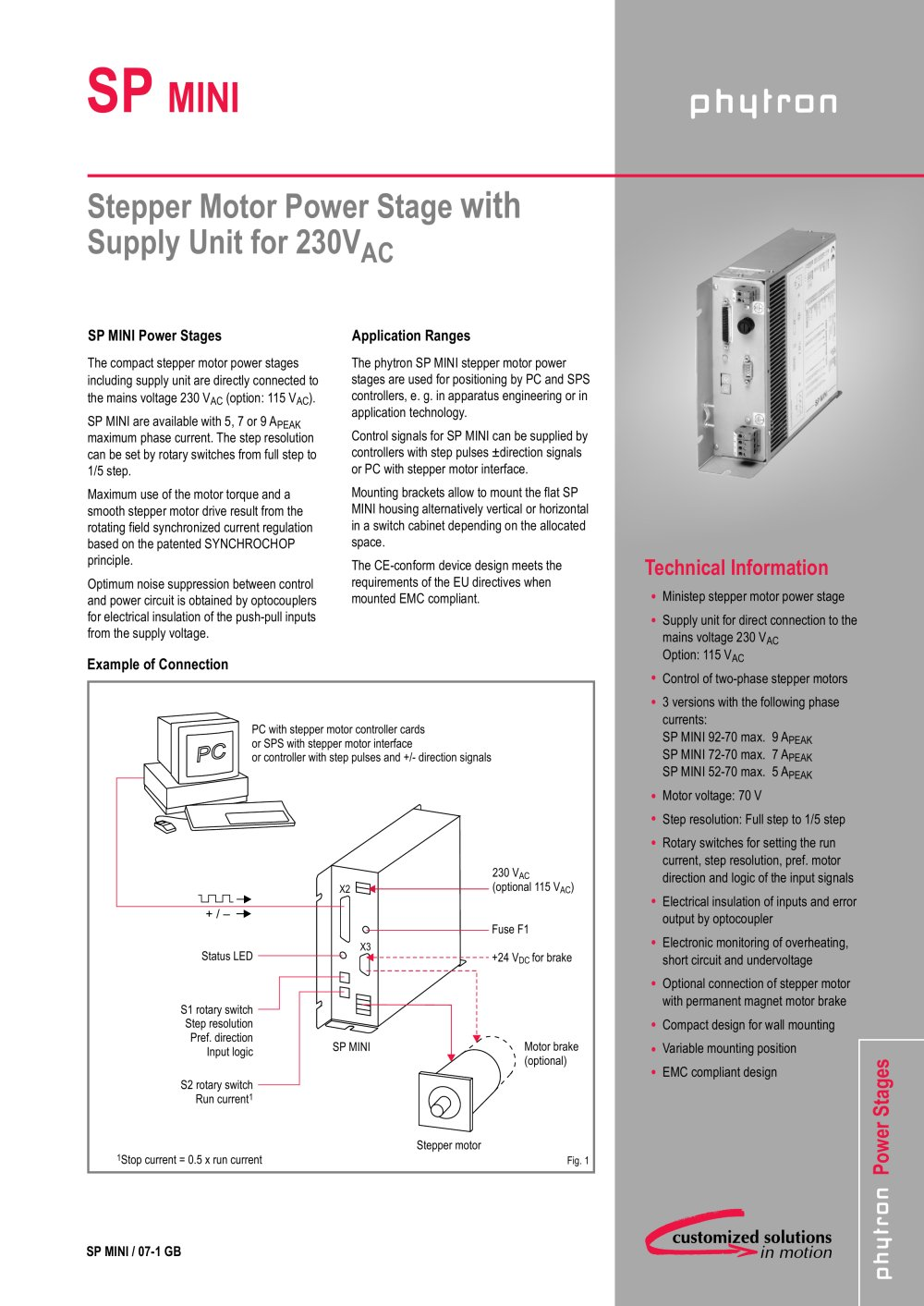 Stepper Motor Power Stage Sp Mini Phytron Gmbh Pdf Catalogs Controller Electronic Circuit Diagram Pictures 1 2 Pages