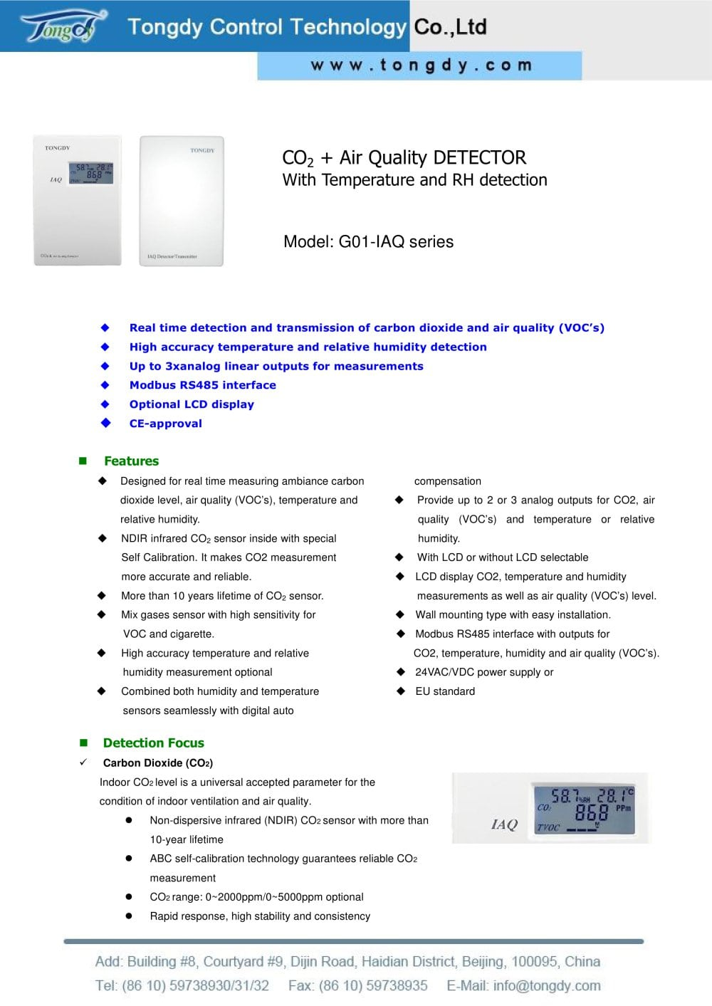 Wall Mount Co2 Vocs Transmitter Tongdy Control Technology Pdf Temperature Controller Wiring As Well 1 4 Pages