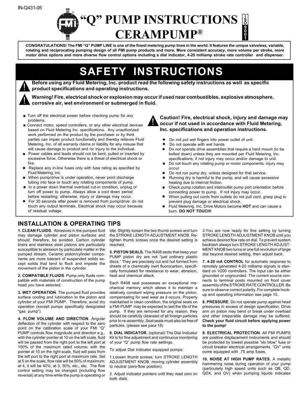 Q Pump Instruction Manual Fluid Metering Pdf Catalogue