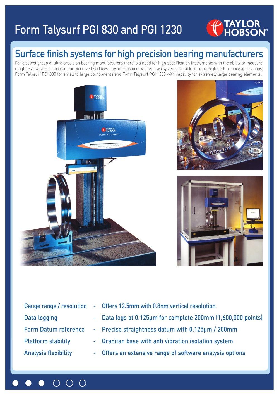 Form Talysurf PGI 830 / 1230 - TAYLOR HOBSON - PDF Catalogue ...