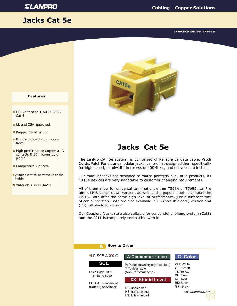 Lpjackcat5e Ss Enb01w Modular Jacks Cat 5e Lanpro Pdf Ce Tech Cat5e Wire Diagram 1 Pages